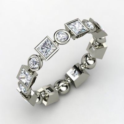 Platinum Ring with Diamond | Geometric Band | Gemvara