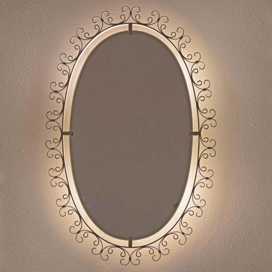 Hillebrand Wandspiegel Indirekt Beleuchtet Metall Selten Oval Spiegel Wandspiegel Beleuchten
