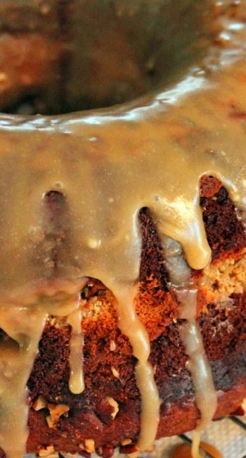 Cheesecake Stuffed Banana Pecan Bundt Cake With Caramel Glaze