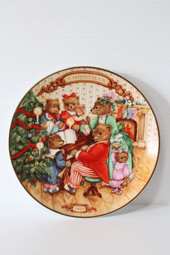 avon christmas decorative porcelain plate with gold rim1988 vintage home for the holidays vintage home decor christmas home decor