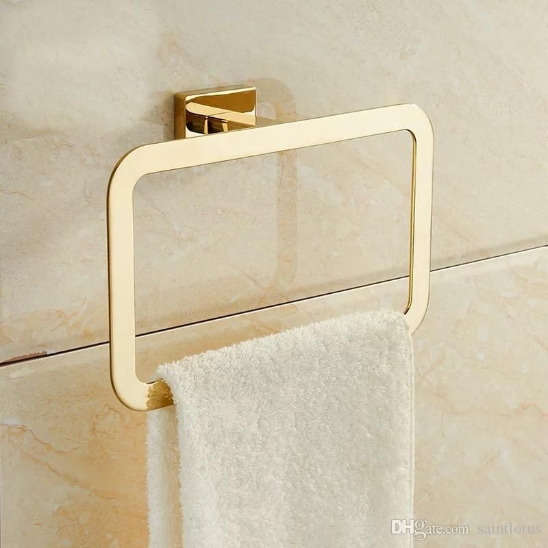 Free Shipping 34 94 Piece Buy Wholesale Gold Towel Rings Square Shape Wall Mounted Bath Bathroom Accessories Luxury Towel Rack Bathroom Towel Ring Bathroom