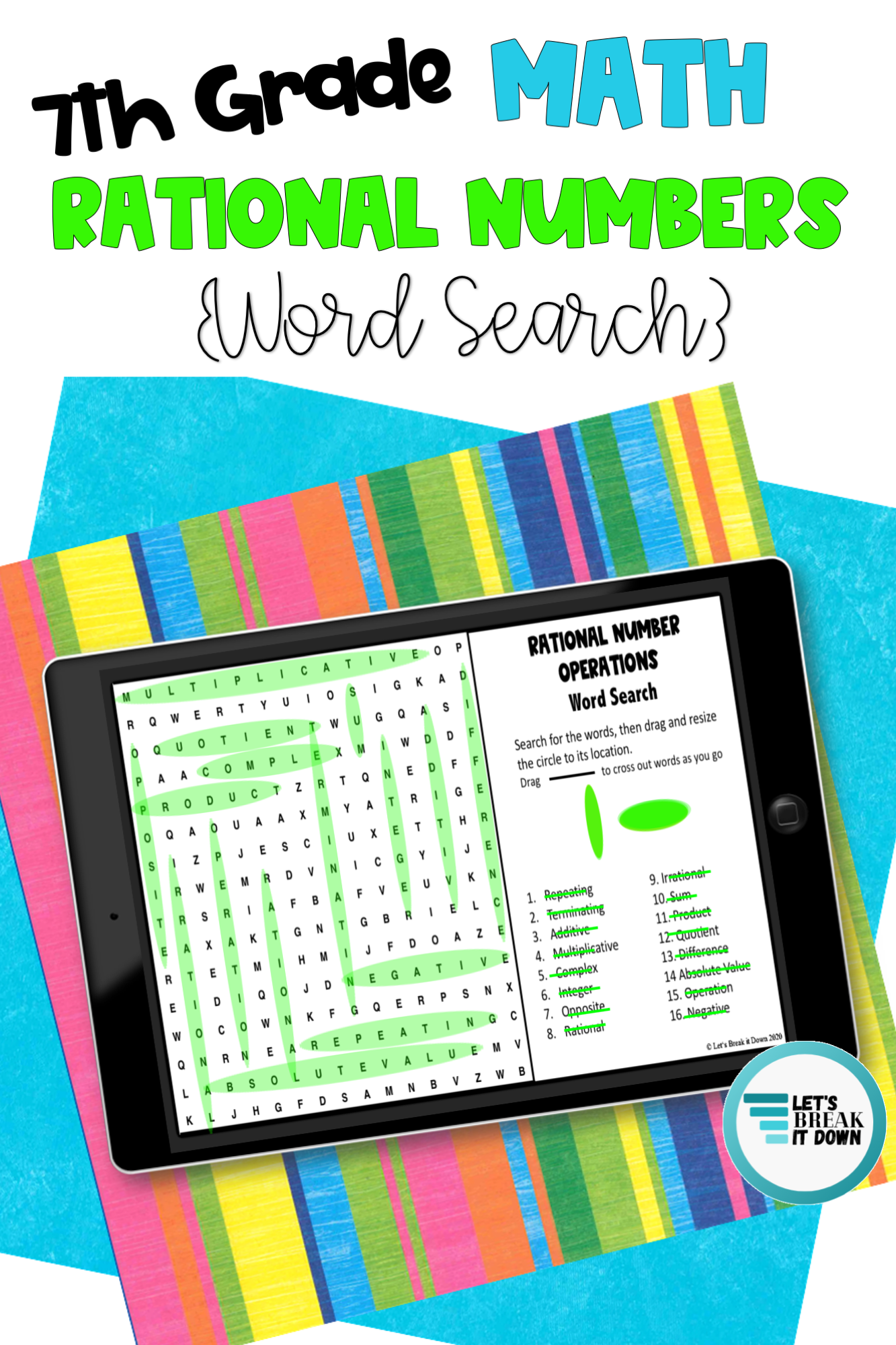 7th Grade Rational Numbers Word Search Google Slide Activity For Google Classroom Middle School Math Resources Google Classroom Middle School Math Classroom