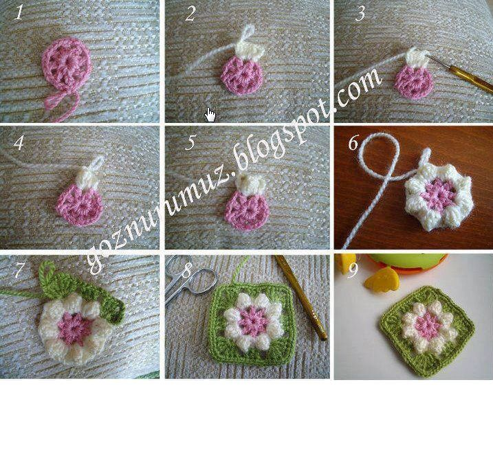 Crochedet flower square