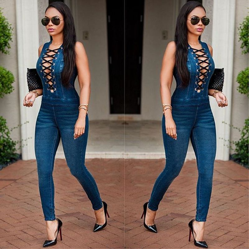 7ae50fb61480 Women Eyelet Button Hole Denim Jumpsuit Lace Up Sleeveless Back Zipper Long  Jeans Playsuit Plus Size Bodycon Overalls-in Jumpsuits from Women s Clothing  ...