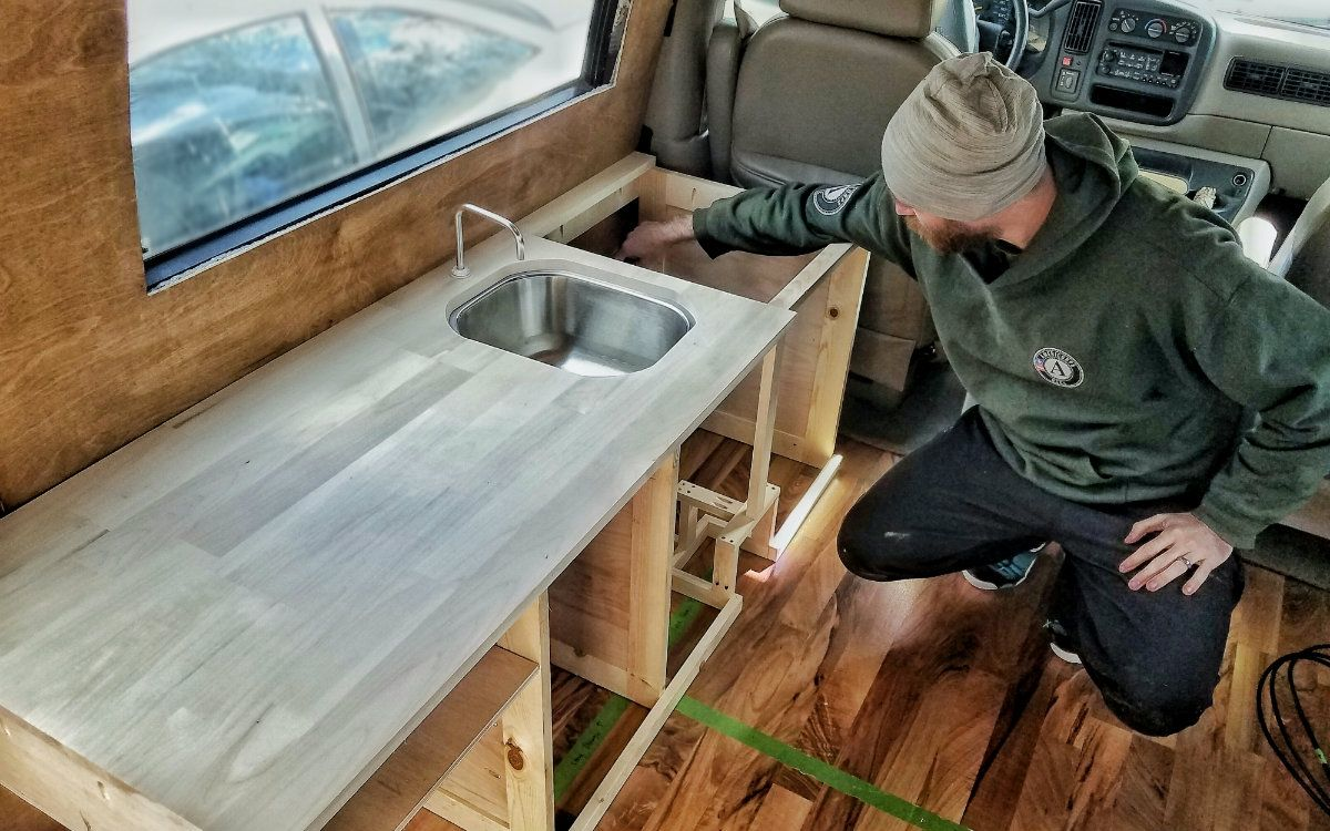 Adorable Wood Interior Ideas For Sprinter Van Camper Custom Kitchen Cabinets Building Kitchen Cabinets Camper Kitchen