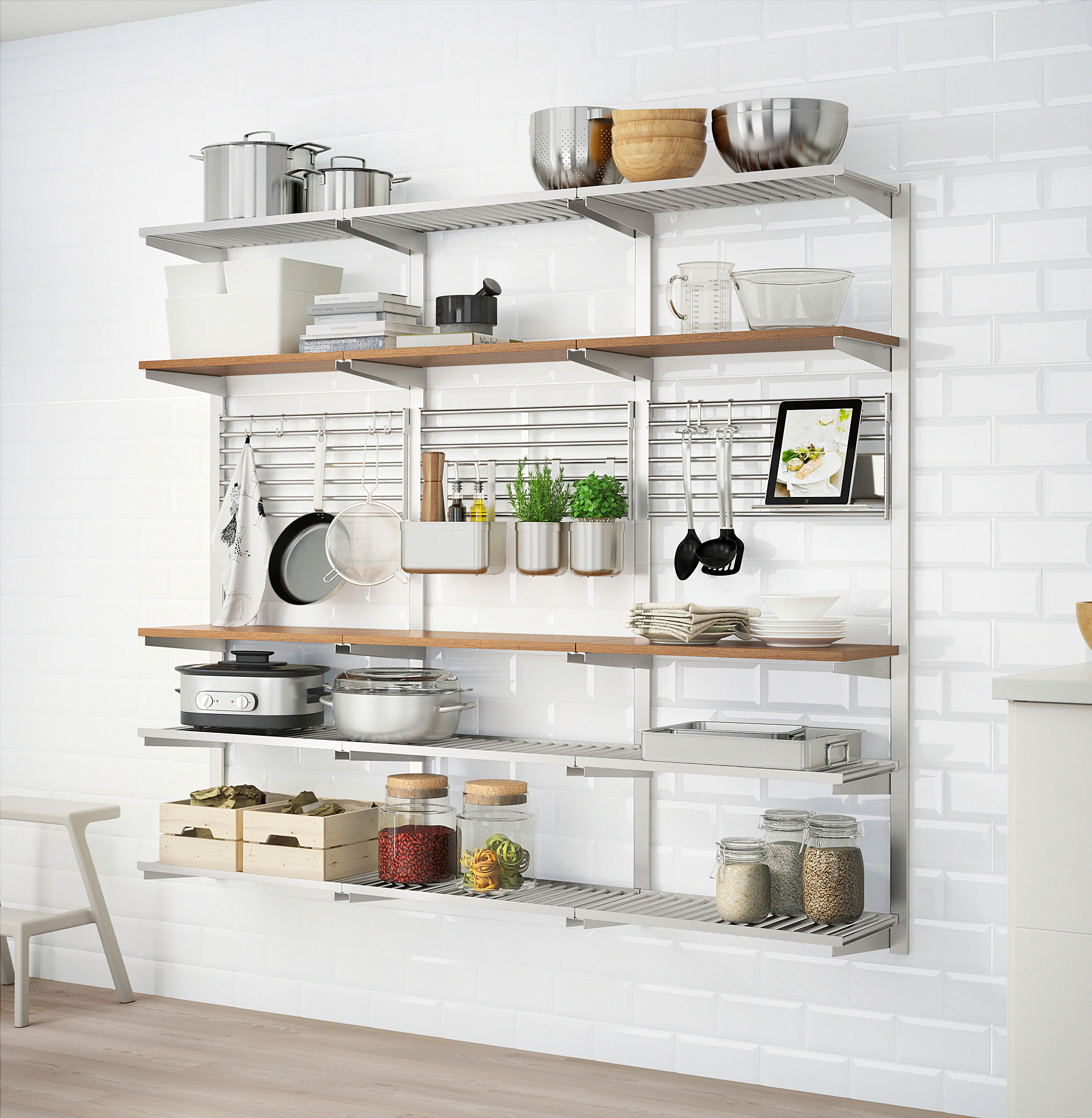 Ikea Kungsfors kitchen shelving. Open, exposed shelving has been a