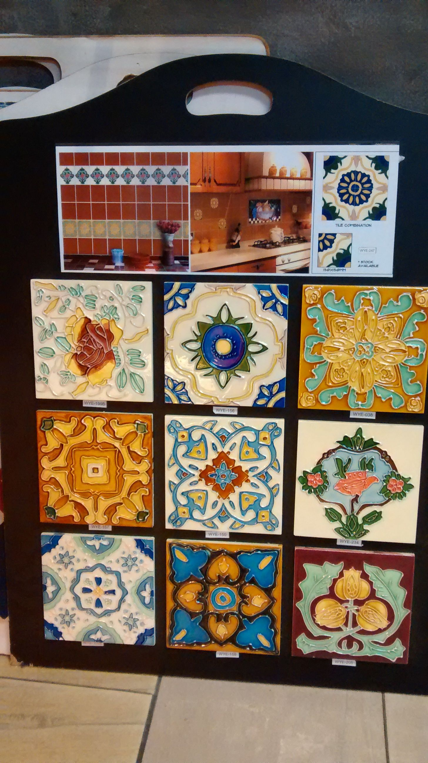 Peranakan-style (majolica) wall tiles at Super Ceramic Tiles, Jalan ...
