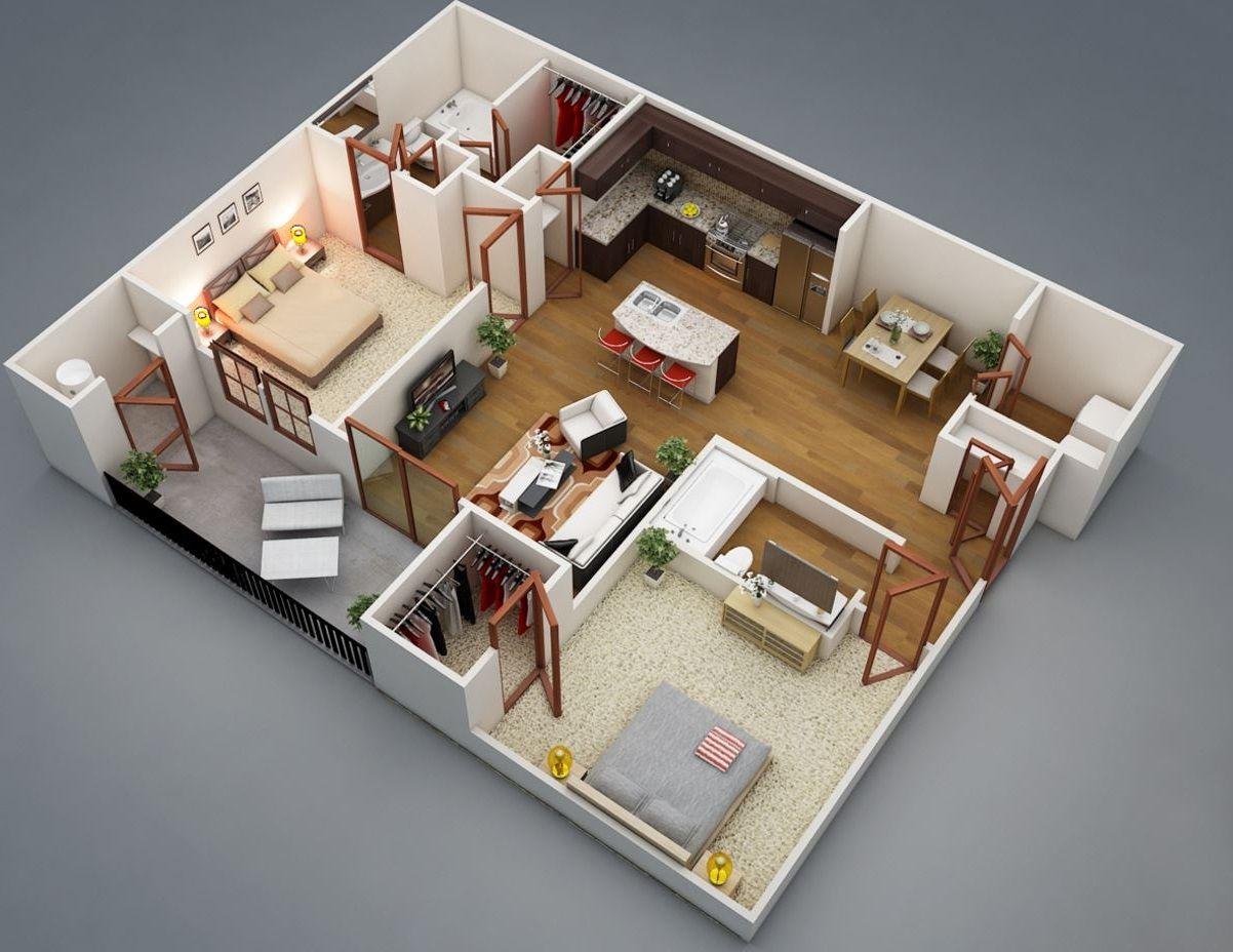 Plano En 3d Planos De Casas Modernas Planos De Casas Economicas Planos De Apartamentos Planos De Casas
