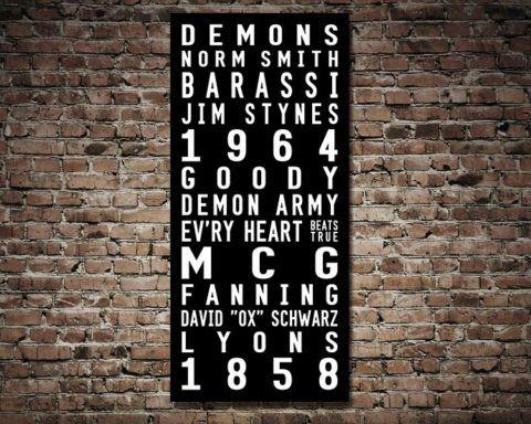 Melbourne Demons Tram Scroll Typographic Destination Wall Art Australia & Melbourne Demons Tram Scroll Typographic Destination Wall Art ...