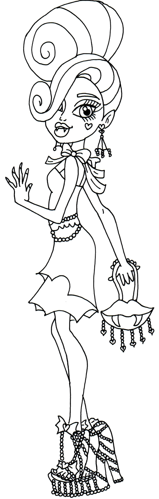Lagoona Blue Monster High Coloring Page Frankie Stein Free Printable