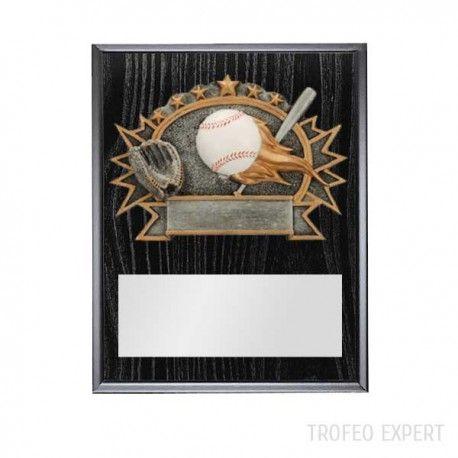 """Jolie Plaque de Baseball arborant un """"burster plate"""" 3D multicolore. Elle inclut également une plaquette d'aluminium (6 po x 3 1/2 po) engravable noire. Suspension murale seulement. Un excellent choix pour souligner un accomplissement ou récompenser un exploit extraordinaire."""