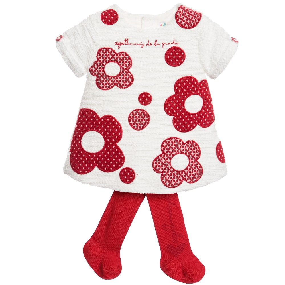 White Dress With Red Flowers Tights Set Red Flowers