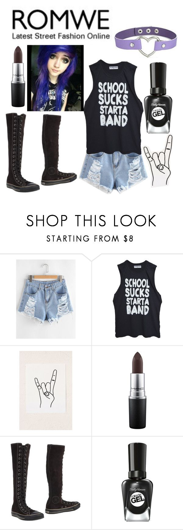 """Untitled #834"" by sleeping-horizon-empires ❤ liked on Polyvore featuring Urban Outfitters, MAC Cosmetics, Converse and Sally Hansen"