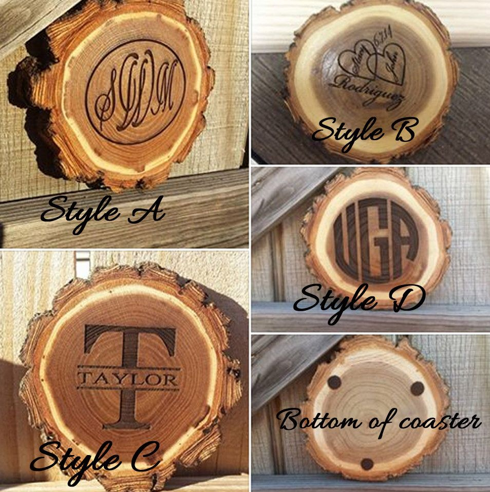 Coasters, Personalized coasters, monogram coasters, rustic wood coaster, custom wood coasters, personalized gifts, tree slice coasters by HangingMemories4ever on Etsy https://www.etsy.com/listing/215141085/coasters-personalized-coasters-monogram