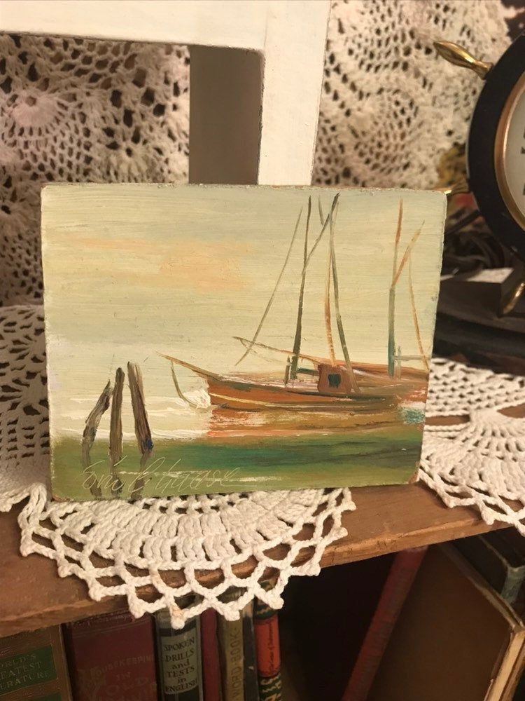 Vintage One Of A Kind Beautifully Designed Sailboat Oil Painting Signed By Artist Miniature