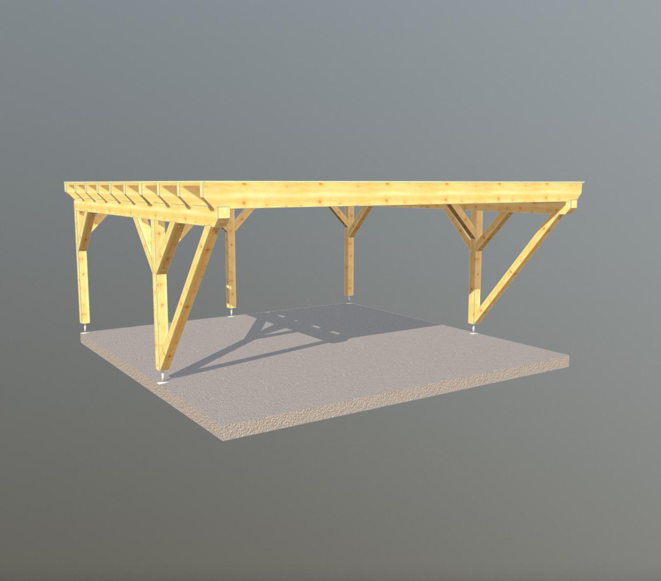 Holz Carport 6m x 6m flachdach, carports aus polen