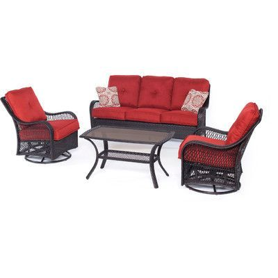 Hanover Orleans 4 Piece Deep Seating Group with Cushions Color: Autumn Berry