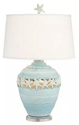 Starfish Kiss Table Lamp Beach Lamps Beach Themed Lamps Blue