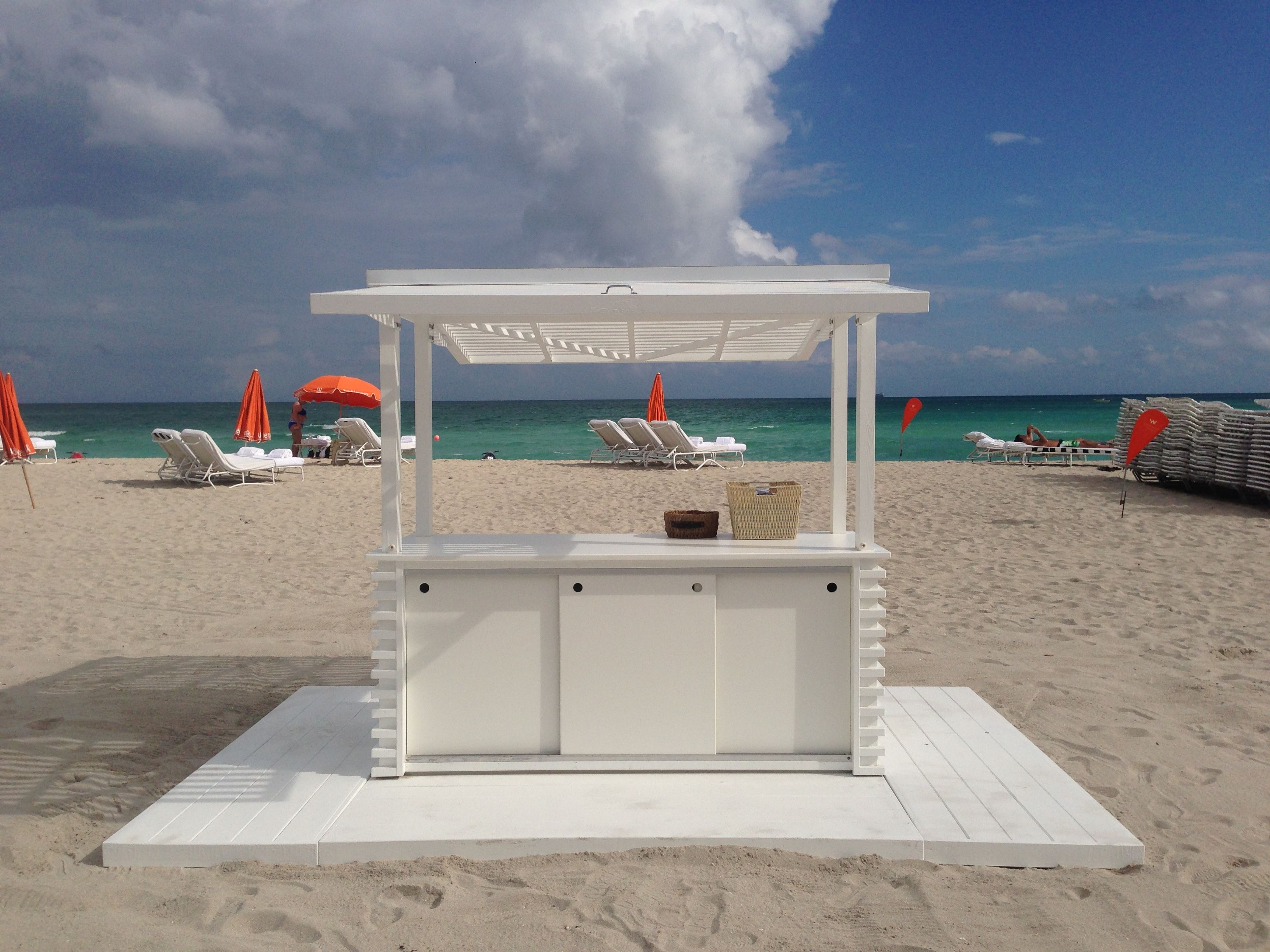 W South Beach In Miami Fl Custom Design Build Service Station Kiosk For Towel By Custombeachhuts
