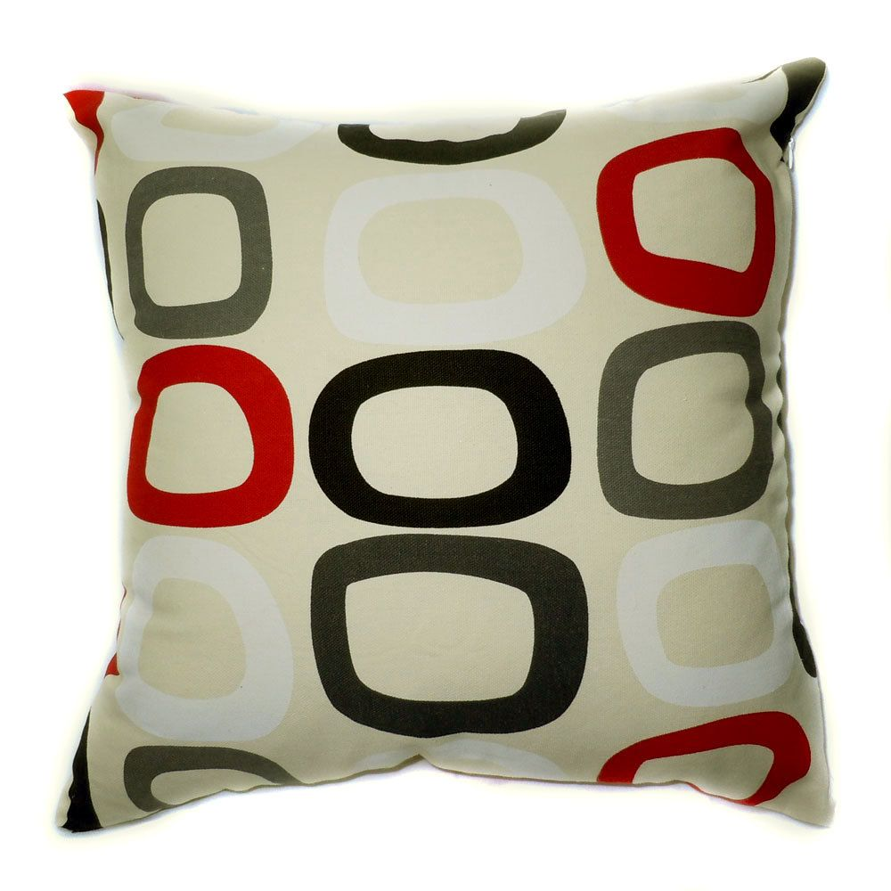 EA Black Gray Red White Square Circle on Beige Cushion Covers
