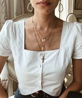 Photo of Necklace   Necklace   Autumn Lookbook Top white golden jewelry   Weiße Bluse go …