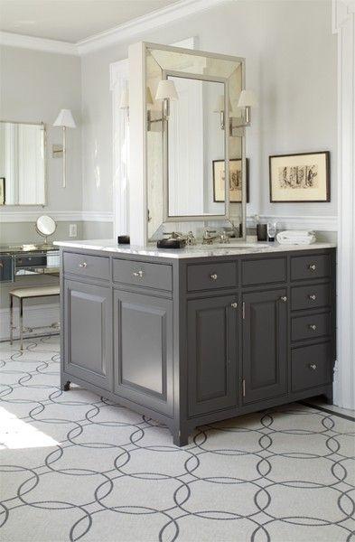 Back To Back Single Charcoal Gray Bathroom Vanities Beveled