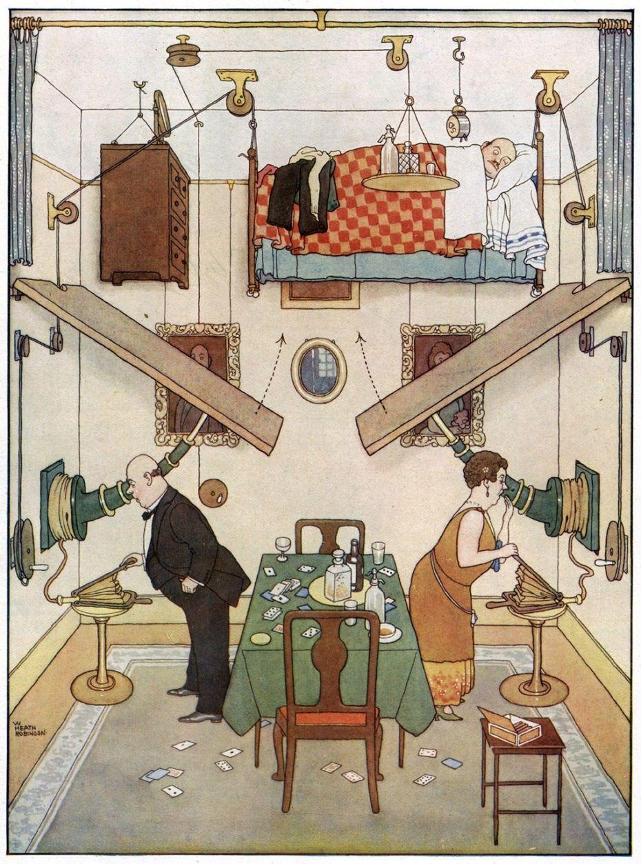 William Heath Robinson | Illustration, Méditation transcendantale, Miguel  angel