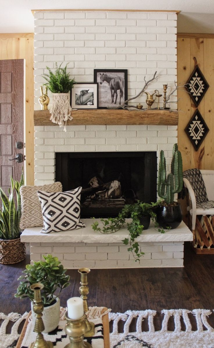 Painted brick fireplace fireplacewall fireplace wall pinterest
