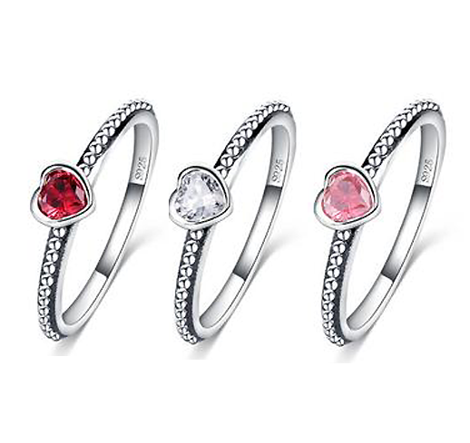 Hand Made Romantic Hearts Promise Rings 3 Colors For Her Girlfriend Ideas