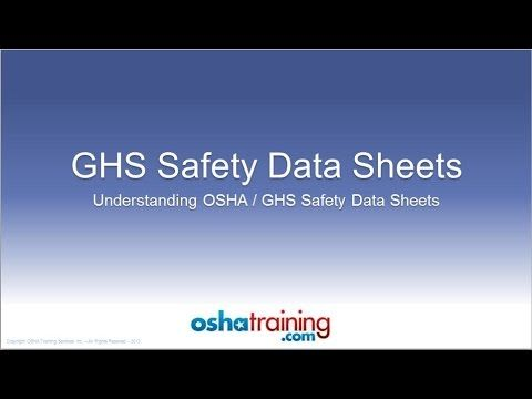 Explains The New Ghs Format For Safety Data Sheets Sds S Adopted