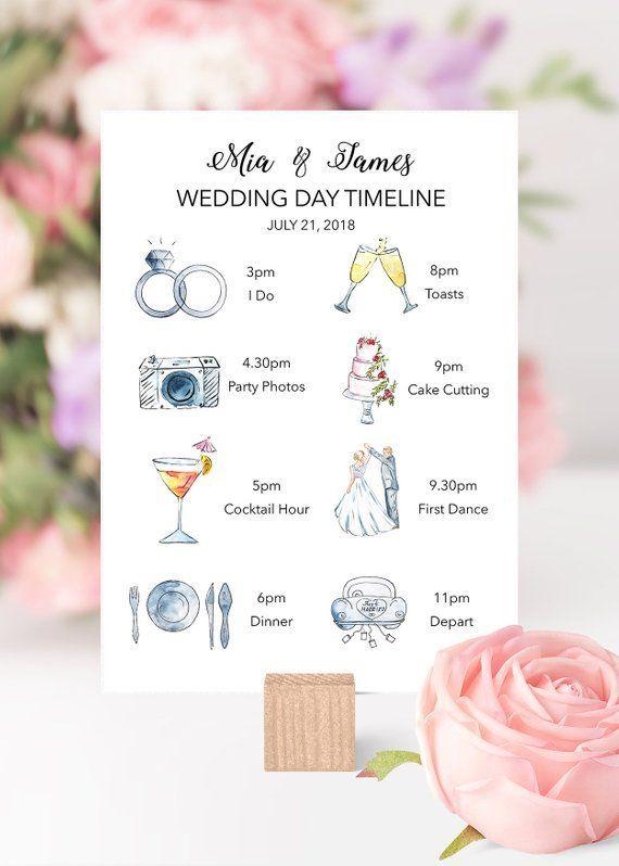 Printable Wedding Timeline, Wedding Itinerary with Icons, Wedding Guest Timeline, Wedding Schedule, Illustrated Wedding Timeline
