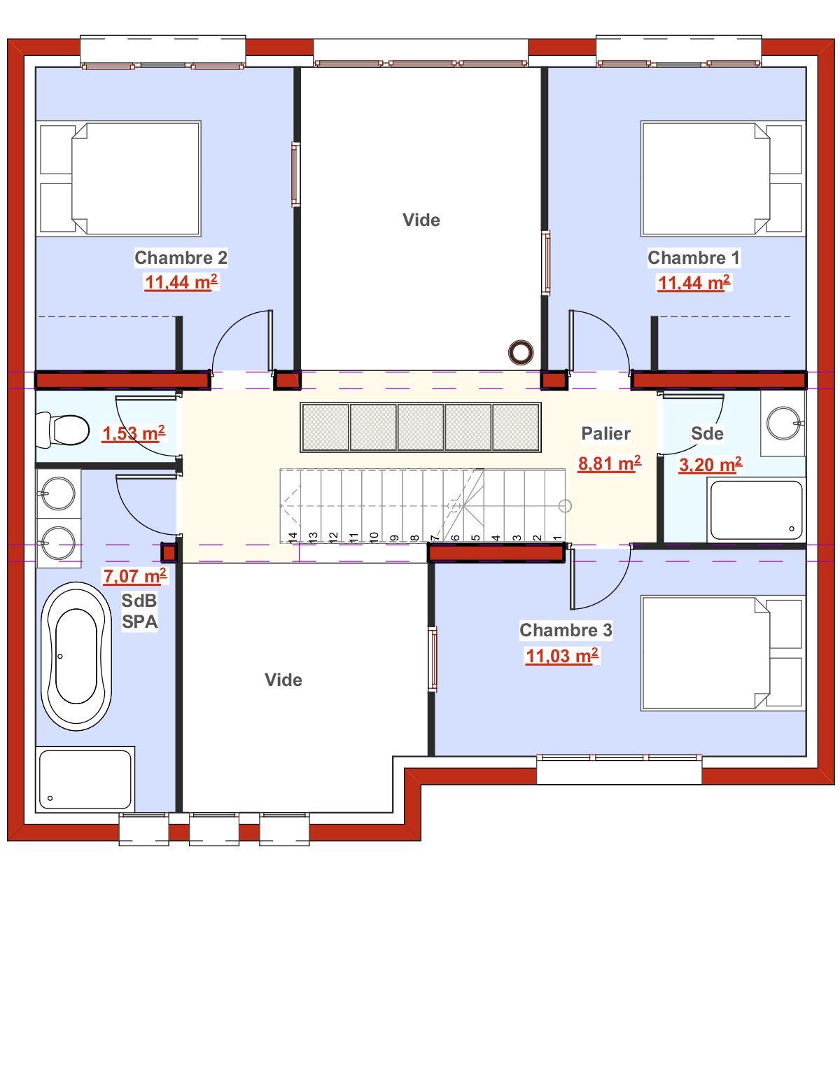 Créer Une Salle De Bain À L Étage voici le plan du 1er étage avec un espace réservé aux