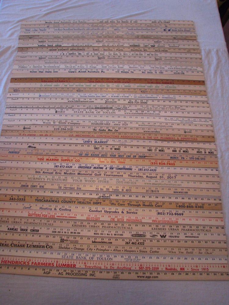 44 Yardstick Wood Wooden Ruler Lot Advertising Sign Color Art Craft Hobby