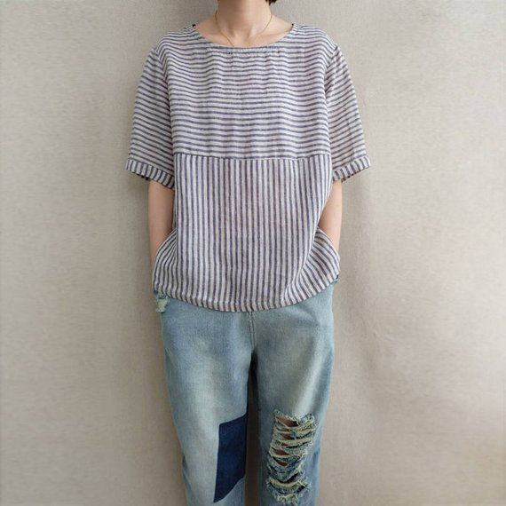 862bafc5f08a02 Women Striped Casual Tops Cotton Blouse Round Neck T-shirt Linen Clothing  Summer Tops Plus Size Clot