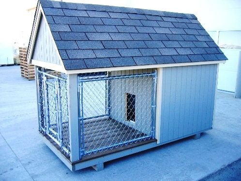 Dog House Kennel Combination Featuring An Indoor Shelter For
