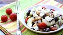 Greek Garbanzo Bean Salad--tips were to try creamy italian, increase feta, serve over leafy greens, best day it's made. Found in my allrecipes magazine