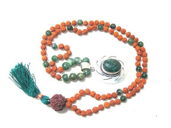 I Am Centered Mala- Prosperity Green Jade Heart Mala Rudraksha Prayer Beads Chakra Pendant Yoga Mala