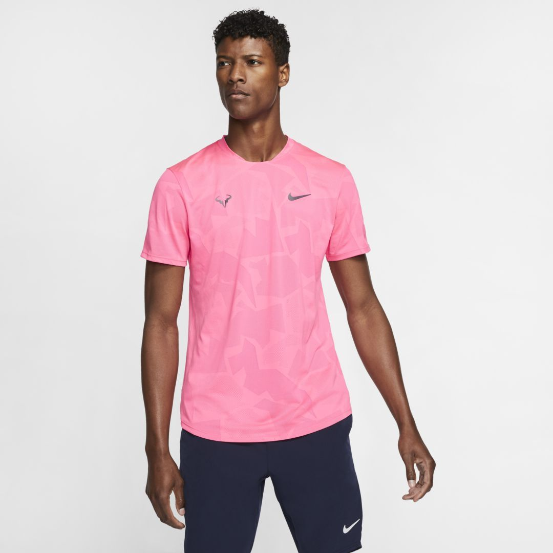 Photo of NikeCourt AeroReact Rafa Men's Short-Sleeve Tennis Top (Digital Pink)
