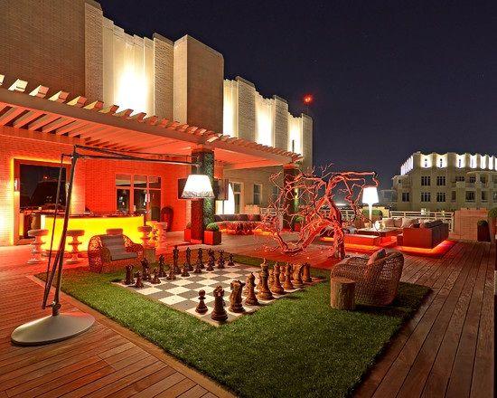dachterrassen schachspiel rasen sessel bar beleuchtung Garten - terrassen ideen garten dachterrassen