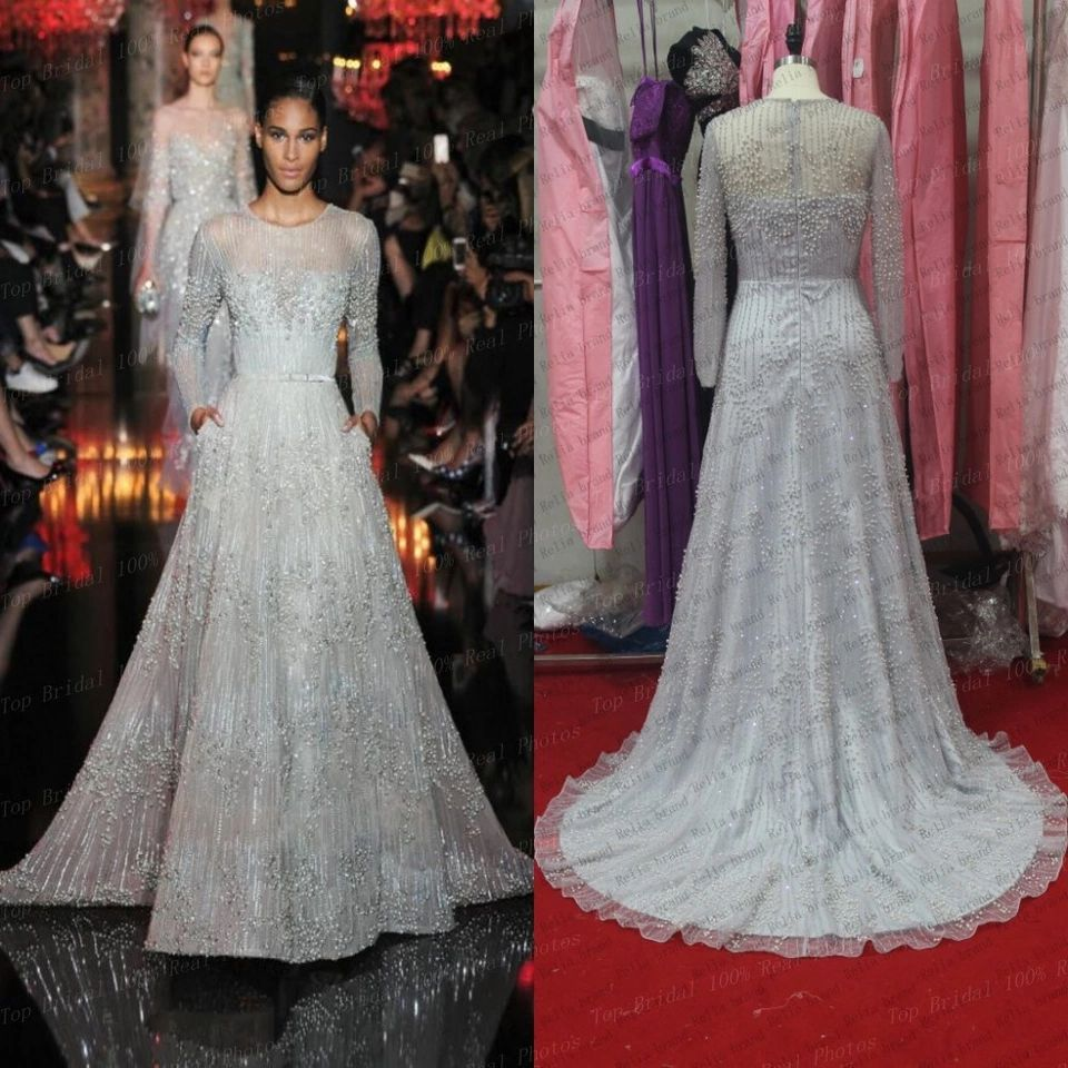 new luxury silver long sleeve beaded evening dresses 2015 lebanon