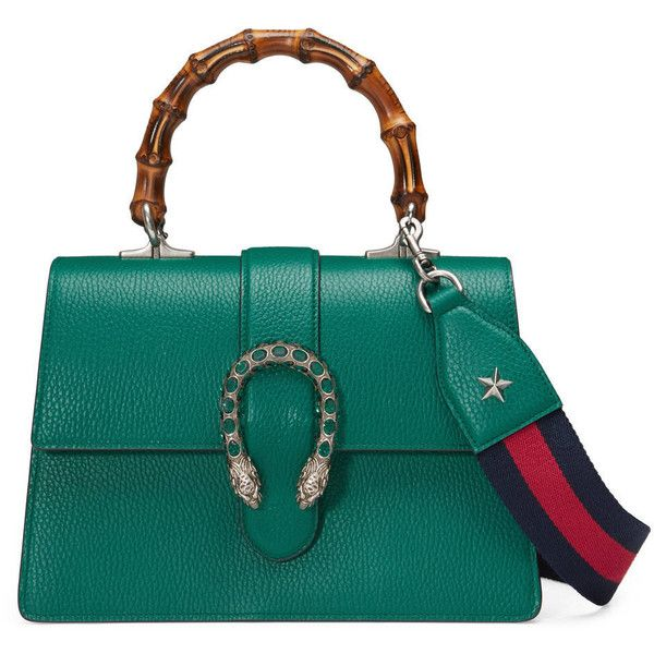 Gucci Dionysus Leather Top Handle Bag ($2,790) ❤ liked on Polyvore featuring bags, handbags, green, blue leather handbags, green leather purse, bamboo handle handbag, green purse and structured handbags