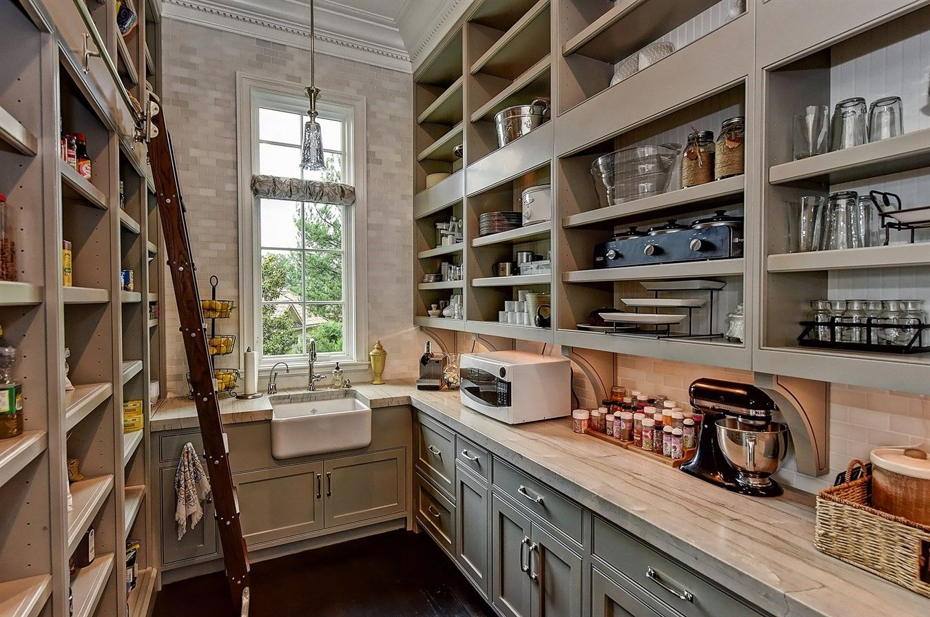 Walk In Pantry With A Place For Everything Food Glassware China And Even A Farm Sink Kitchen Pantry Design Pantry Design Kitchen Butlers Pantry