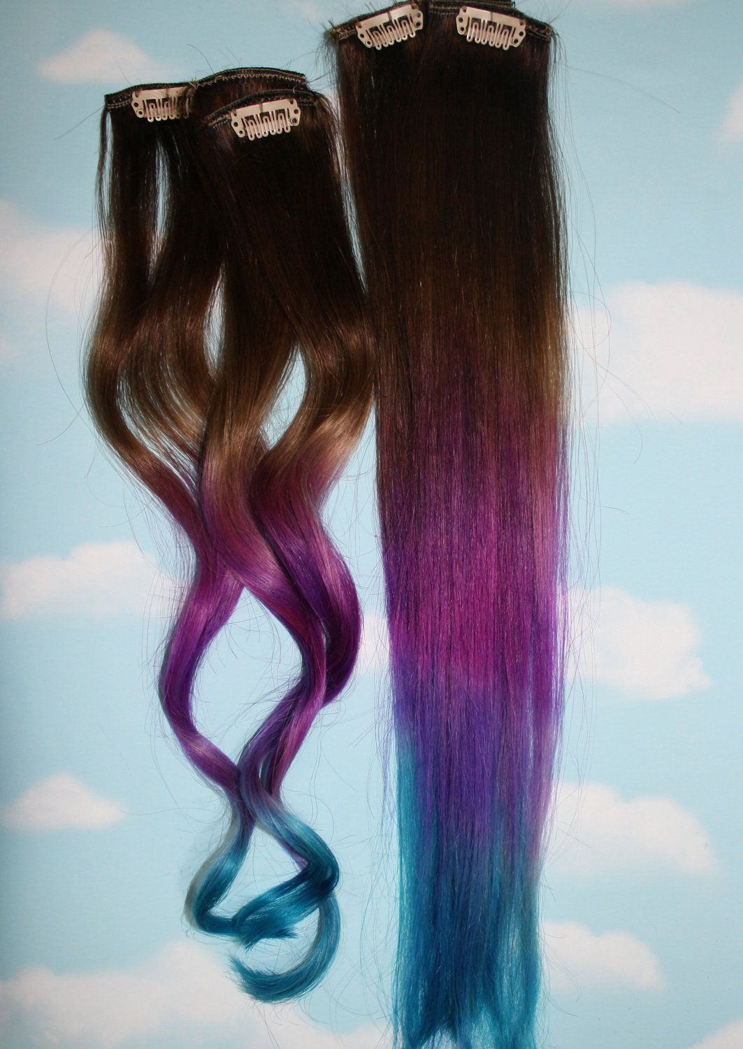 Purple And Turquoise Dip Dye Hair Color Pinterest Dip Dyed