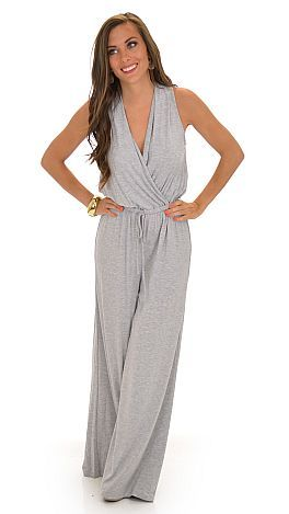$54 Pump it Up Jumpsuit, Gray