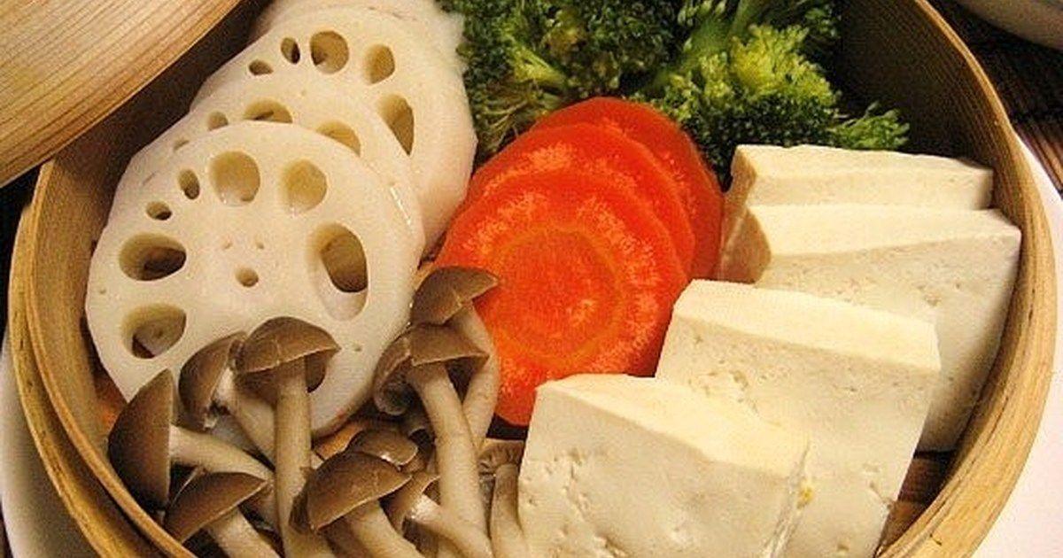 蒸し野菜と、蒸し豆腐!
