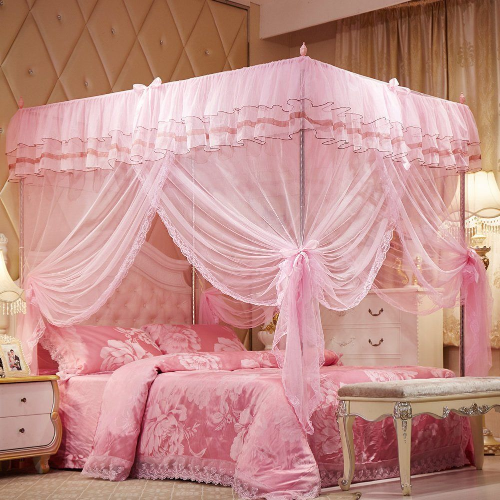 Mosquito Net Bed Canopy Lace Luxury 4 Corner Square Princess Fly Screen Indoor Outdoor Pink Twin By Uozzi