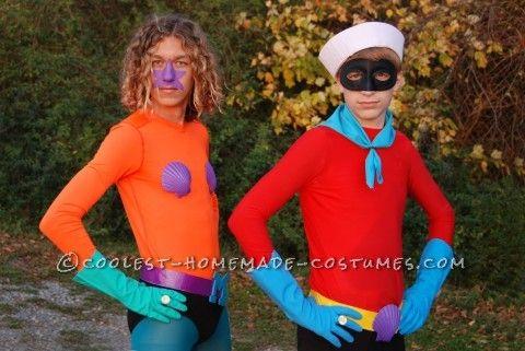 Funny Homemade Couple Costume Mermaid Man and Barnacle Boy Unite - homemade halloween costume ideas men