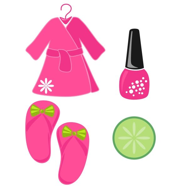 Spa Party SVG Cuttable Designs With Lemon Nail Polish And Slippers