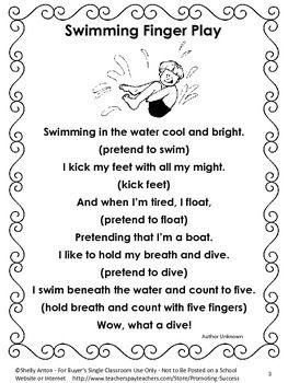 FREE Summer Finger Play, Free Summer School Reading
