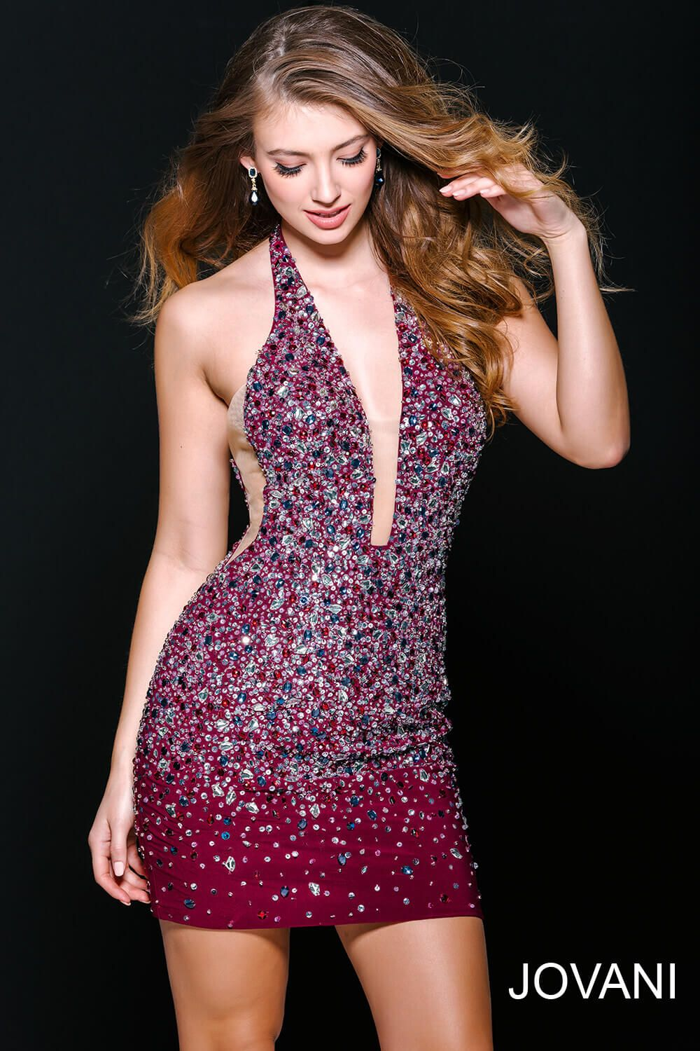 This #jovani 42476 cranberry beaded dress is really something ...